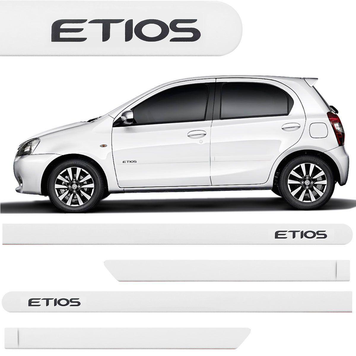 Jogo Friso Lateral Etios Hatch Sedan 2012 2013 2014 2015 2016 Branco Polar