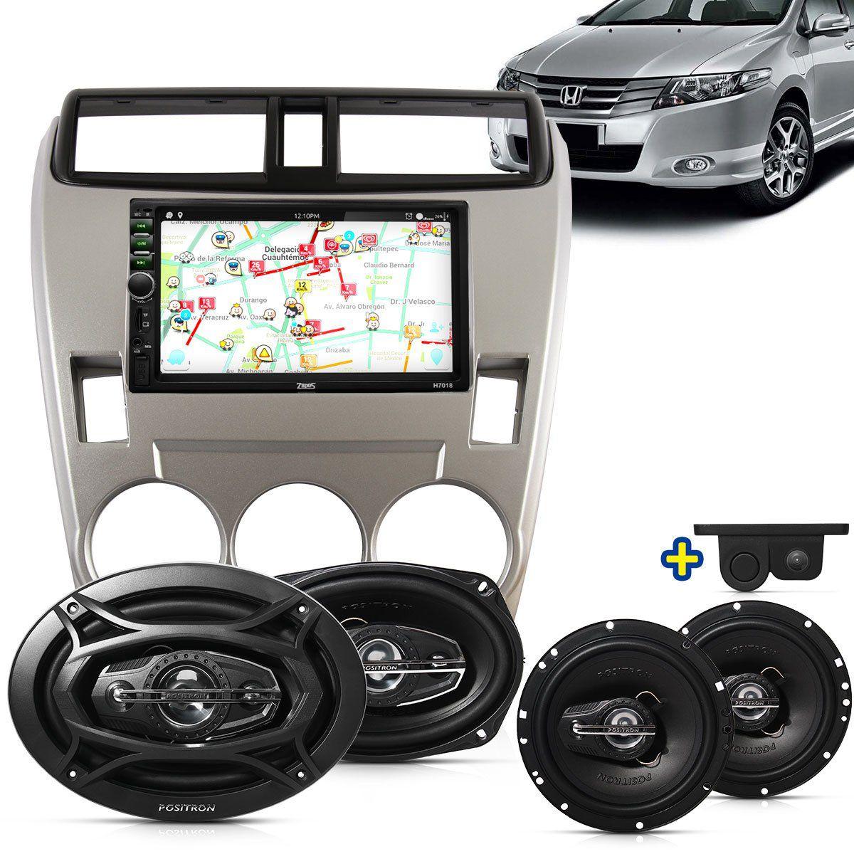 Kit Multimidia Mp5 City 09 10 11 + Moldura Ar Analogico Camera Ré Sensor Par Falantes 6