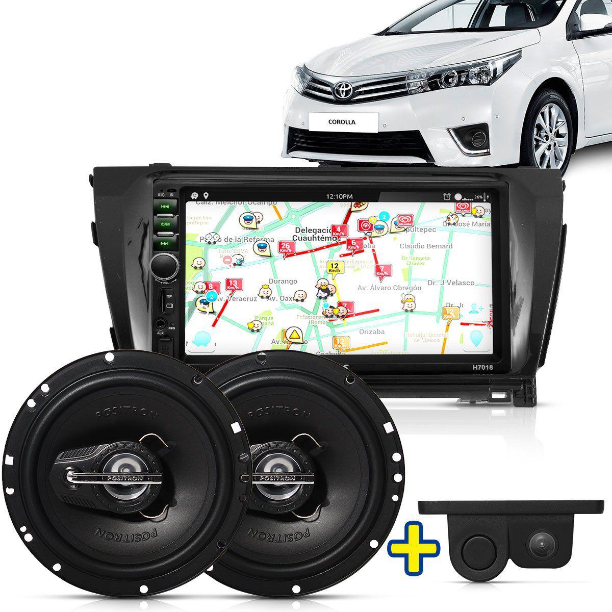 Kit Multimidia Mp5 Corolla 14 A 16 + Moldura Camera Ré Sensor Par Falante 6