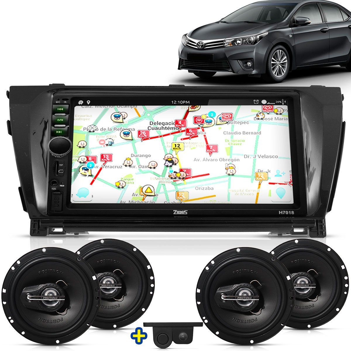 Kit Multimidia Mp5 Corolla 2014 2015 2016 + Moldura Camera Ré Sensor 2 Pares Alto Falantes 6