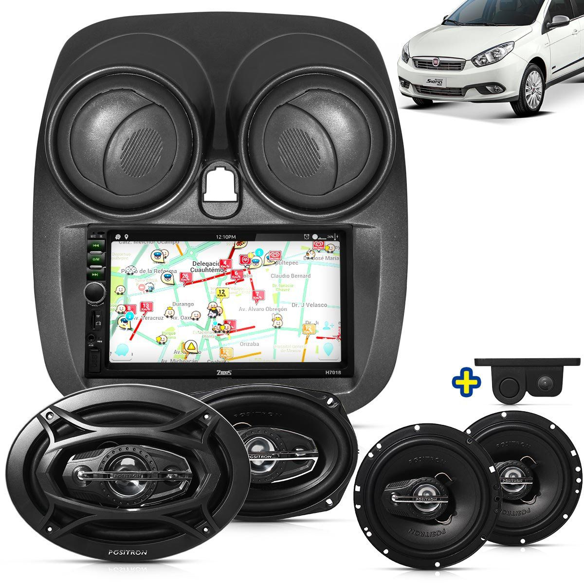 Kit Multimidia Mp5 Grand Siena 2015 2016 + Moldura Cinza Camera Ré Sensor Par Falantes 6