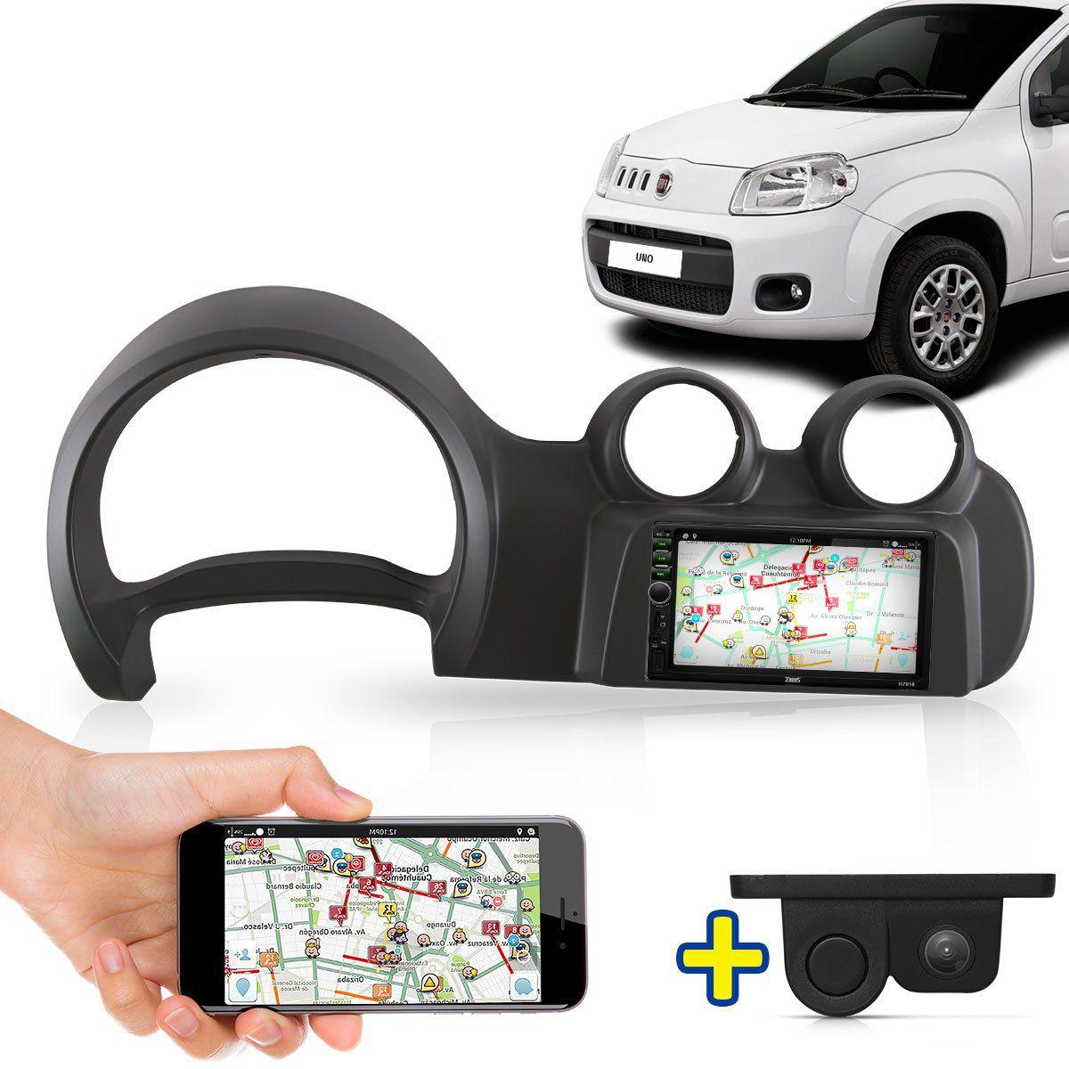 Kit Multimidia Mp5 Novo Uno 2015 2016 + Moldura Cinza Câmera Ré Sensor