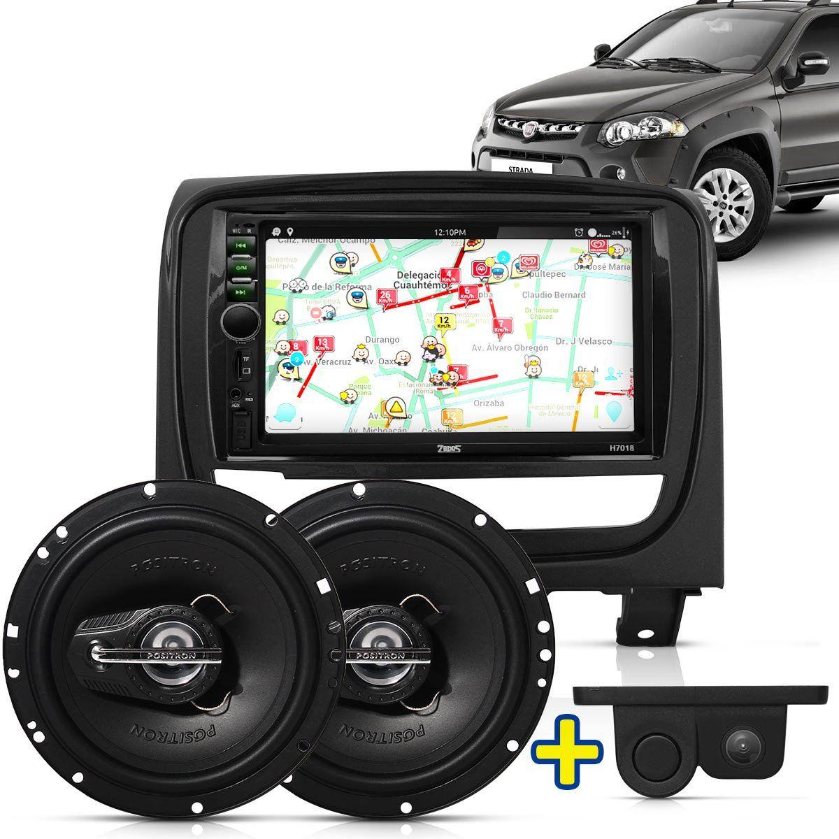 Kit Multimidia Mp5 Palio Weekend Strada 13 A 15 + Moldura Grafite Camera Ré Sensor Par Falante 6