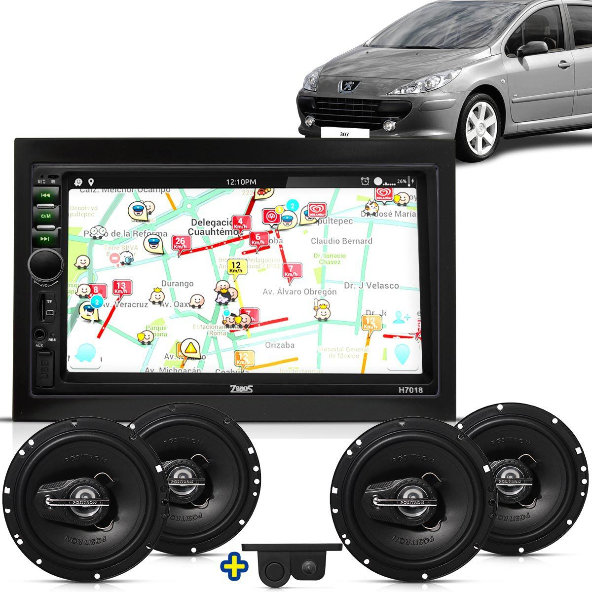 Kit Multimidia Mp5 Peugeot 307 C3 03 A 10 + Moldura Camera Ré Sensor 2 Pares Alto Falantes 6