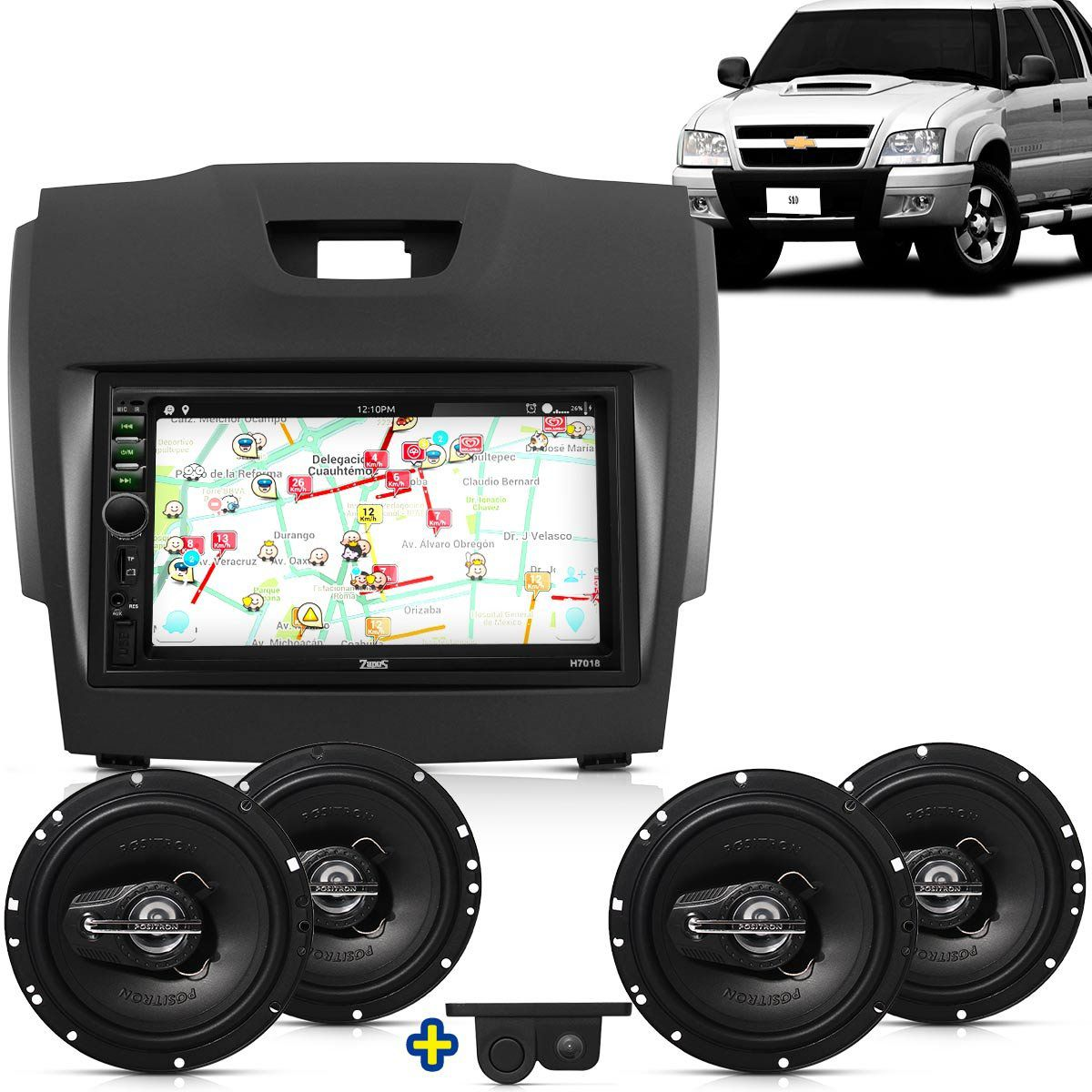 Kit Multimidia Mp5 S10 Trail Blazer 2012 2013 + Moldura Camera Ré Sensor 2 Pares Alto Falantes 6