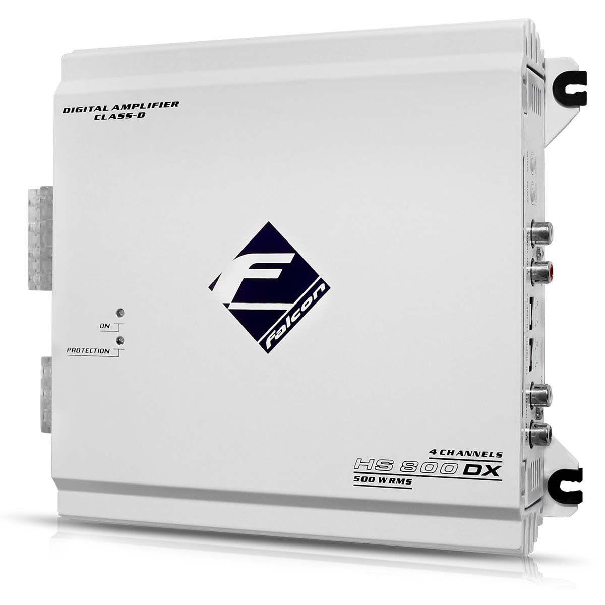 Módulo Amplificador Falcon Hs800 Dx 500w Rms Digital 4 Can