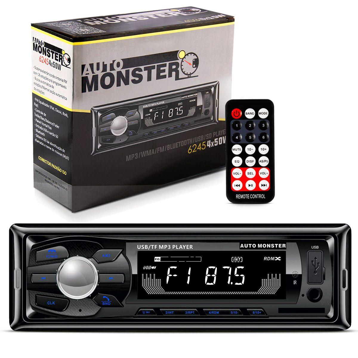 Mp3 Player 1 Din Auto Radio Fm WMA Bluetooth USB SD Auxiliar 200W