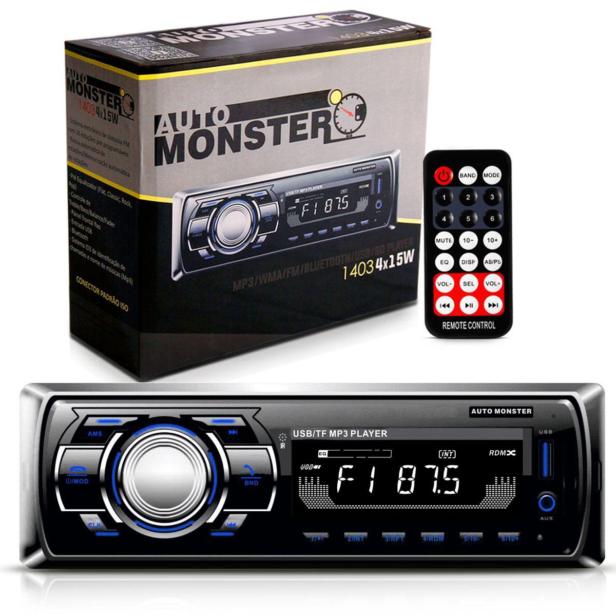 Mp3 Player 1 Din Auto Radio Fm WMA Bluetooth USB SD Auxiliar 60W