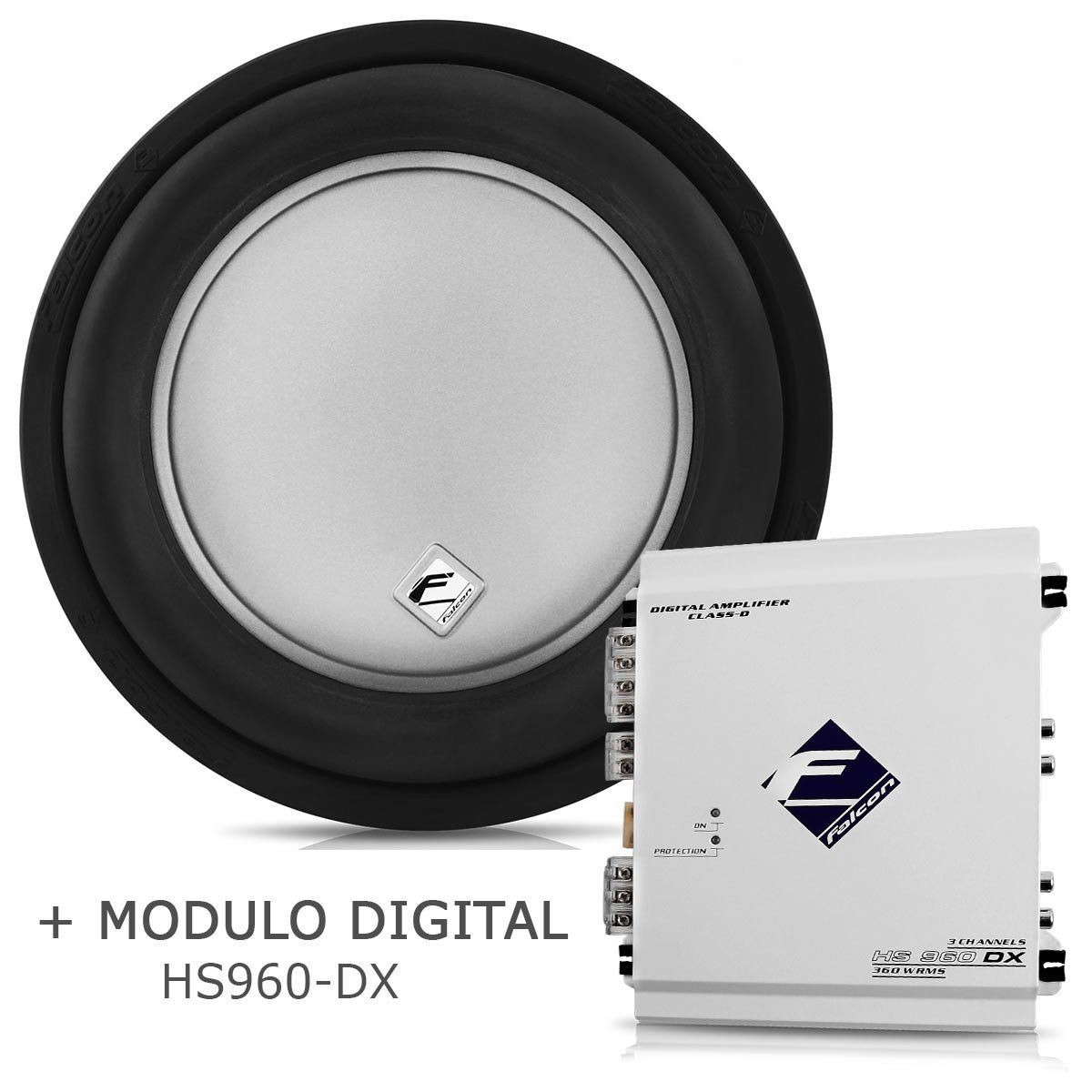 Subwoofer Bobina Dupla Xd500-10 + Módulo Digital Hs960 Dx