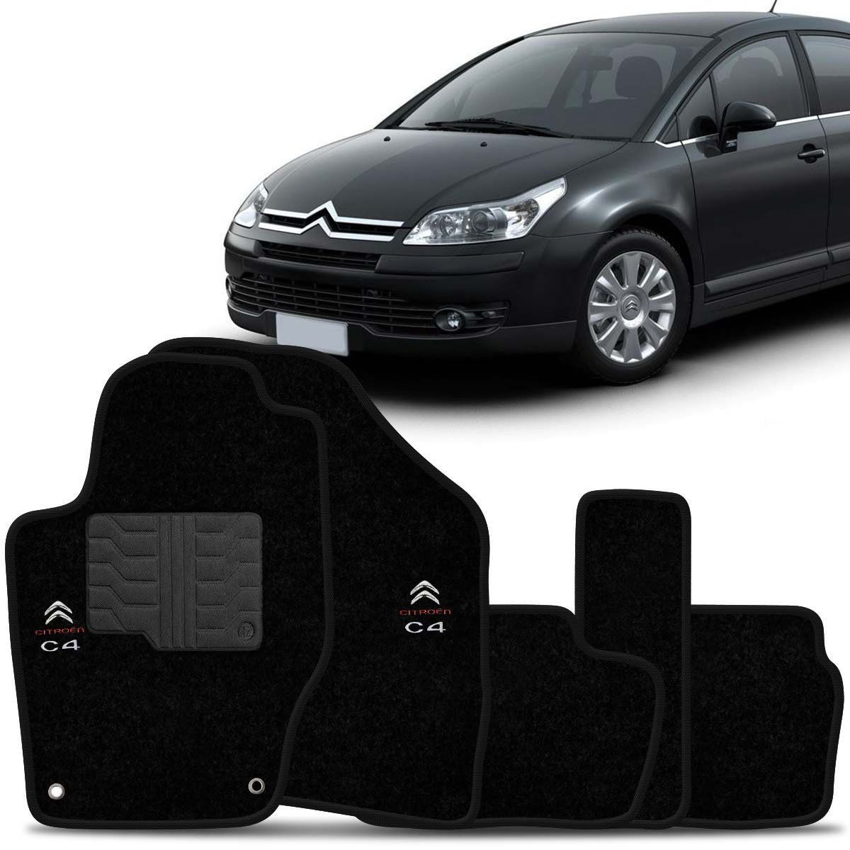 Tapete Carpete Citroën C4 Hatch Pallas 2009 2010 2011 Preto