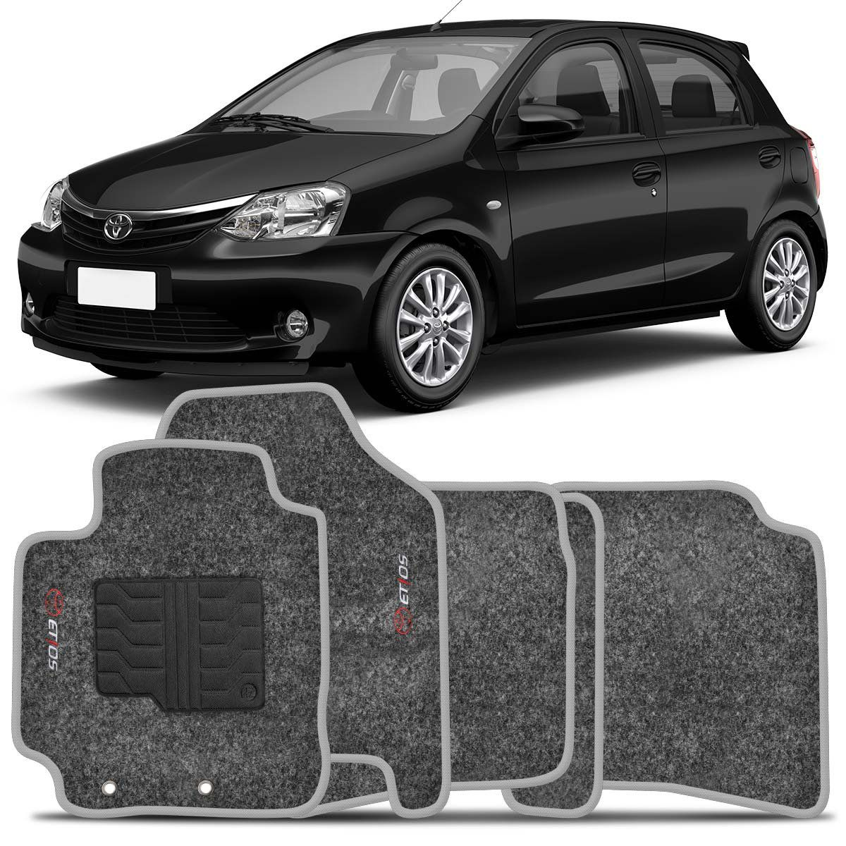 Tapete Carpete Etios Hatch e Sedan 2013 2014 Grafite