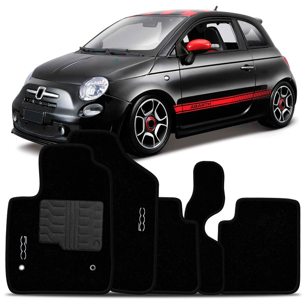 Tapete Carpete Fiat 500 Abarth 2010 2011 2012 2013 2014 2015 Preto