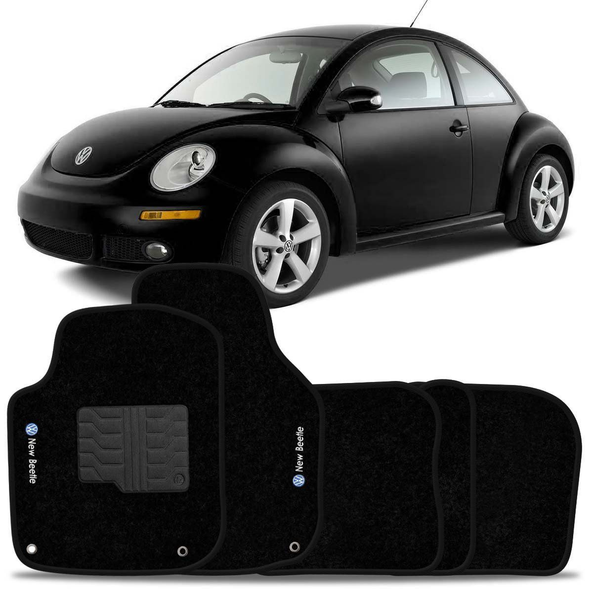 Tapete Carpete New Beetle 2000 2001 2002 2003 2004 2005 2006 2007 2008 2009 2010 2011 Preto