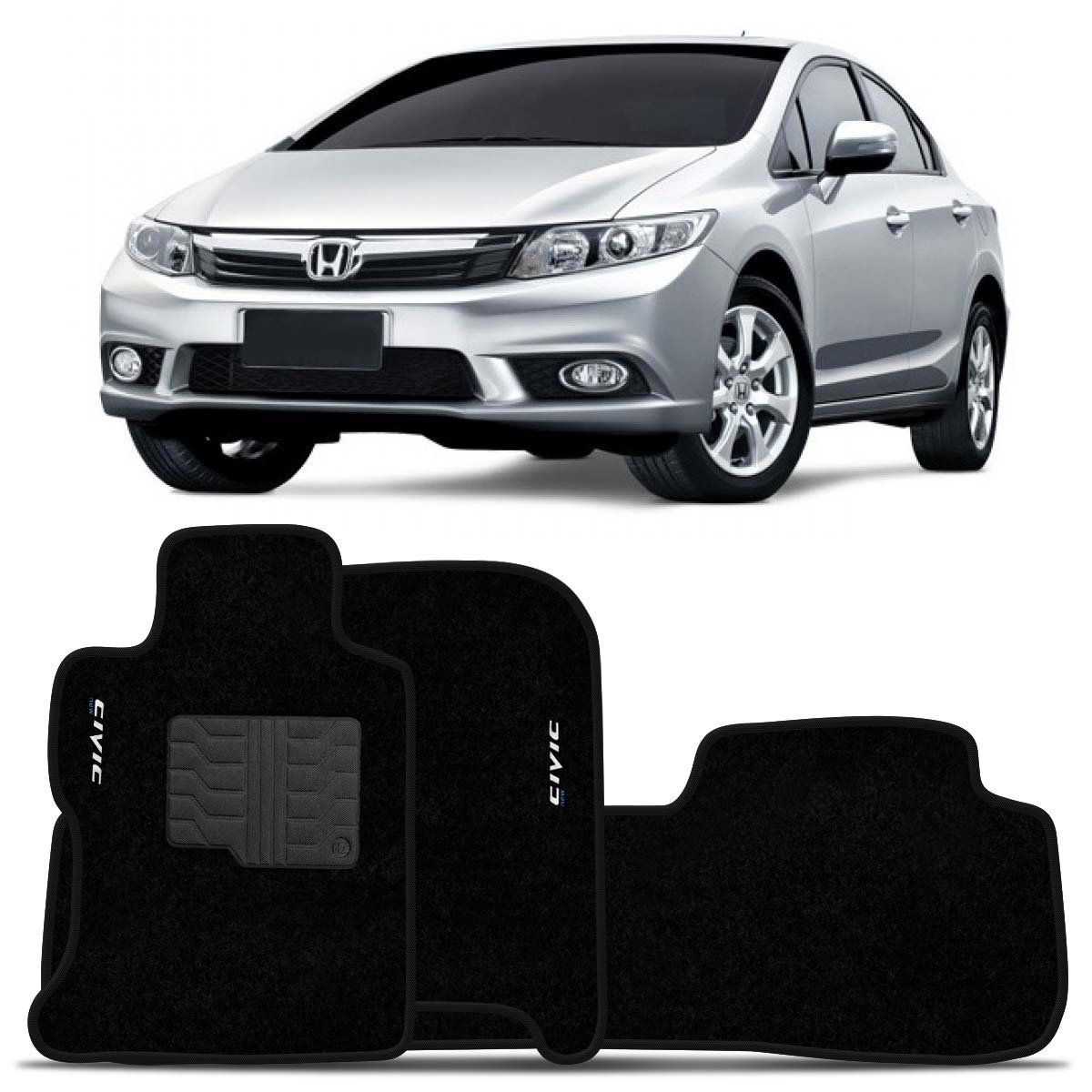Tapete Carpete New Civic 2007 2008 2009 2010 2011 2012 2013 Preto