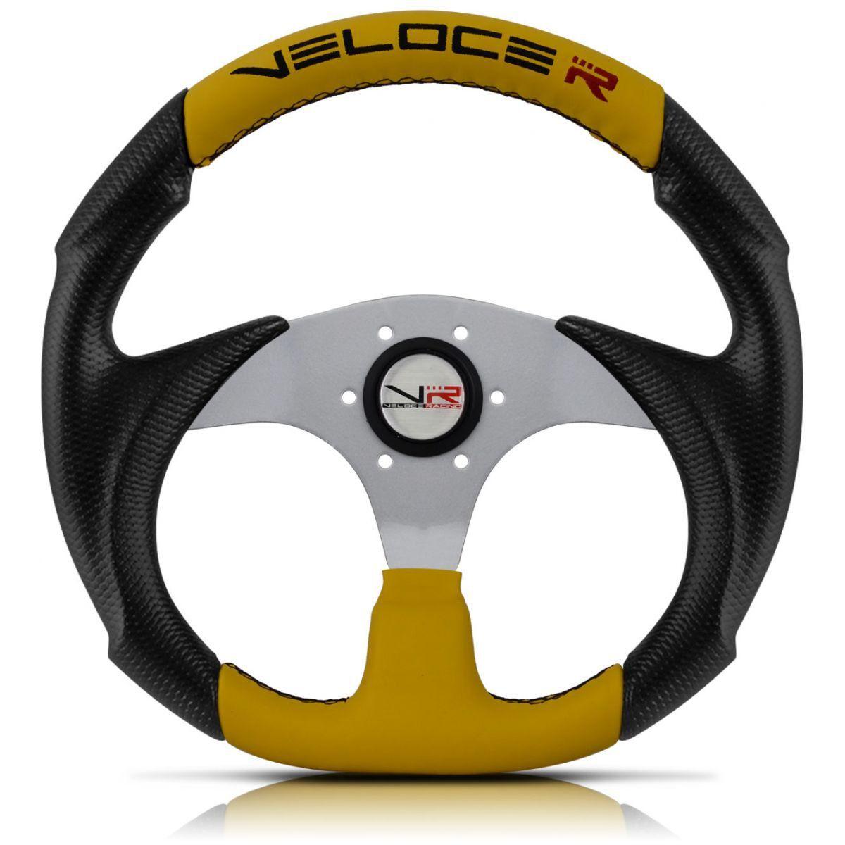Volante Esportivo Veloce Racing Amarelo com centro Prata