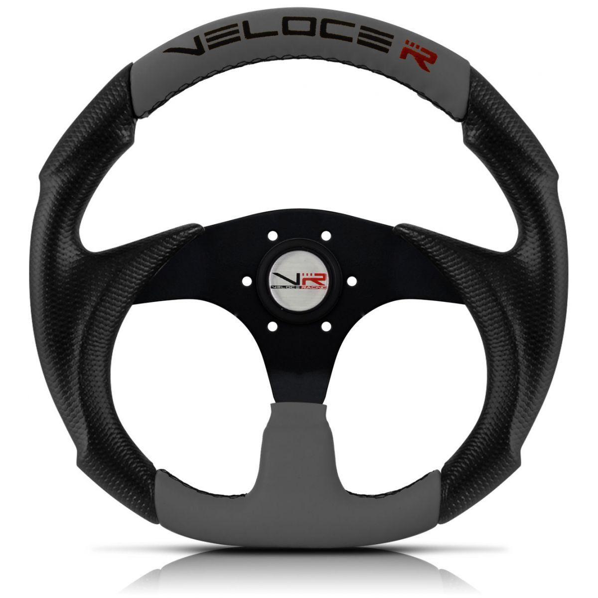 Volante Esportivo Veloce Racing Cinza com centro Preto