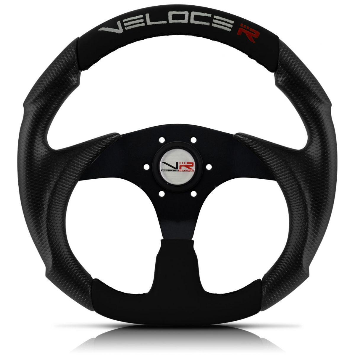 Volante Esportivo Veloce Racing Preto com centro Preto