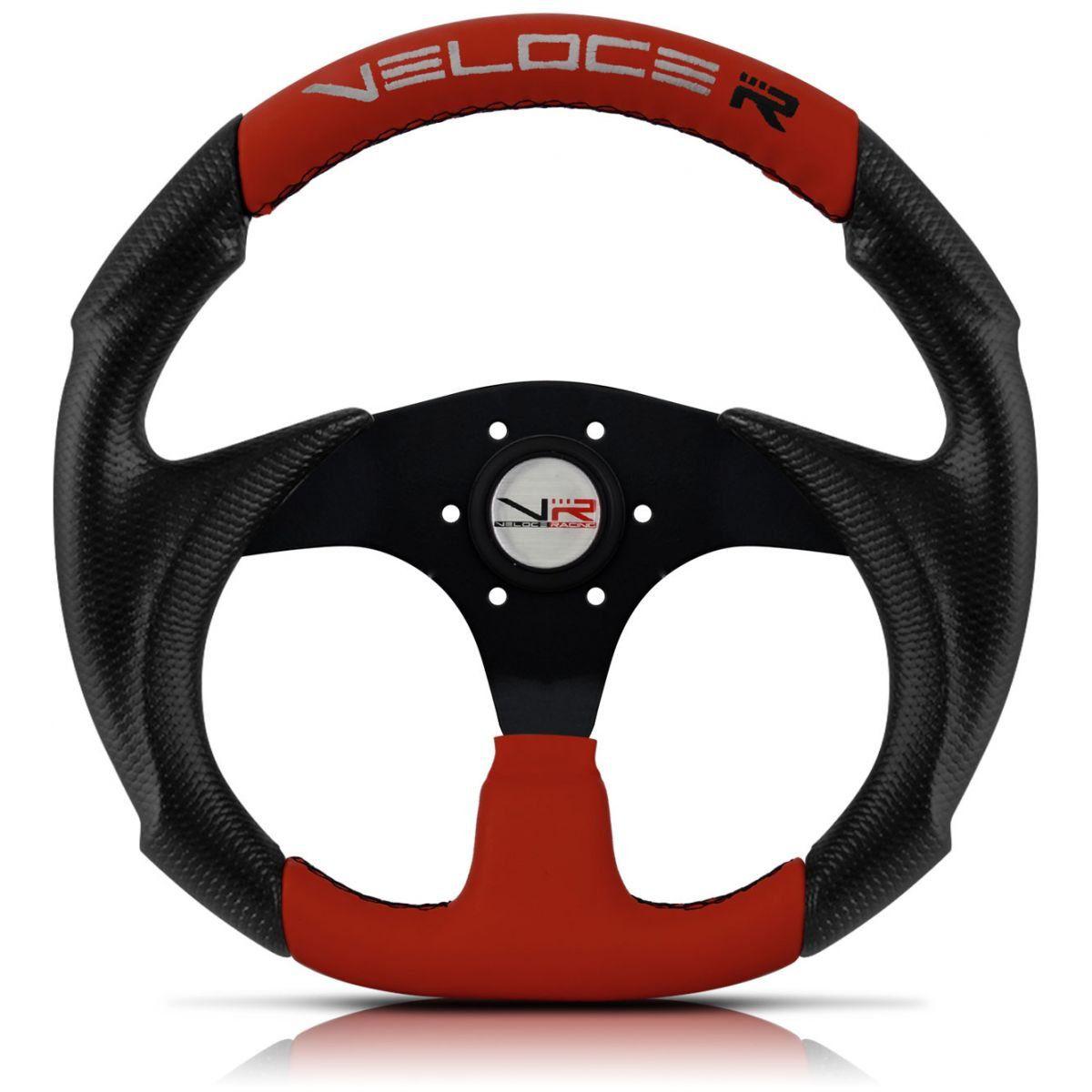 Volante Esportivo Veloce Racing Vermelho com centro Preto