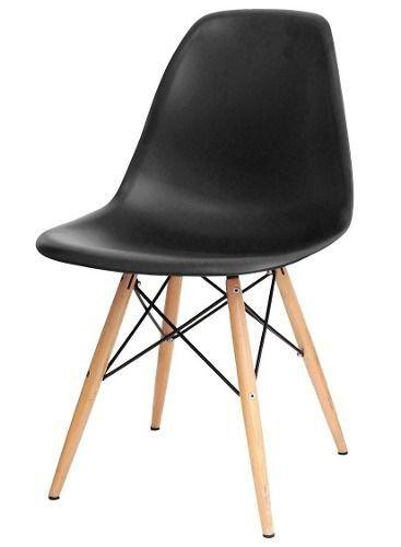 Cadeira Decorativa Eiffel Charles Eames F03 Preto com Pés de Madeira - Lyam Decor