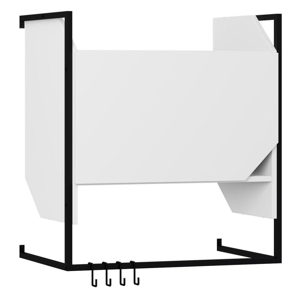Armário Aéreo Com Porta e Suporte Metálico Com Ganchos Soul Branco TX - Be Mobiliário