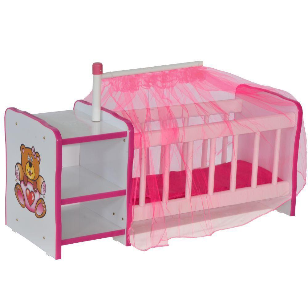 Berço Para Boneca Cristal Ursinho C02 Brinquedo Infantil Branco Rosa - Lyam Decor