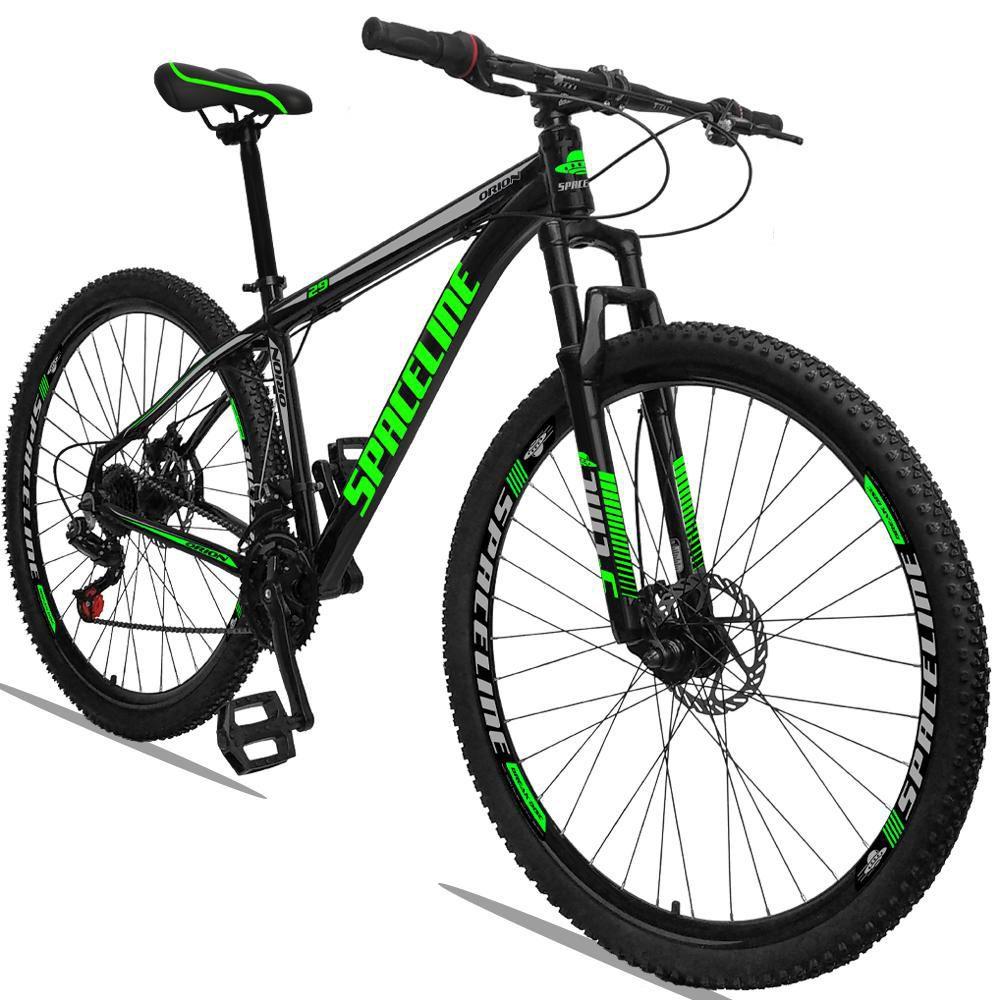 Bicicleta Aro 29 Quadro 15 Alumínio 21 Marchas Freio a Disco Orion Preto Verde - Spaceline