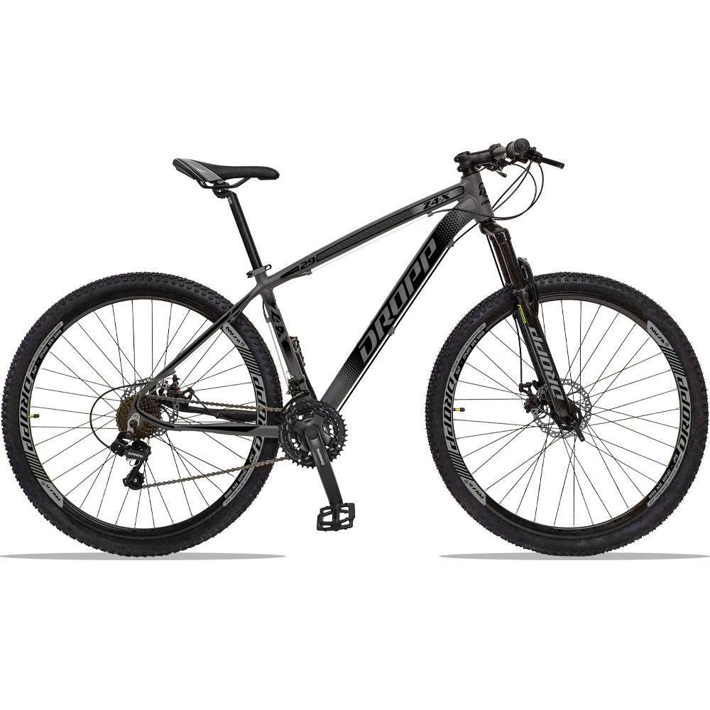 Bicicleta Aro 29 Quadro 15 Alumínio 21 Marchas Freio a Disco Z4X Cinza Preto - Dropp