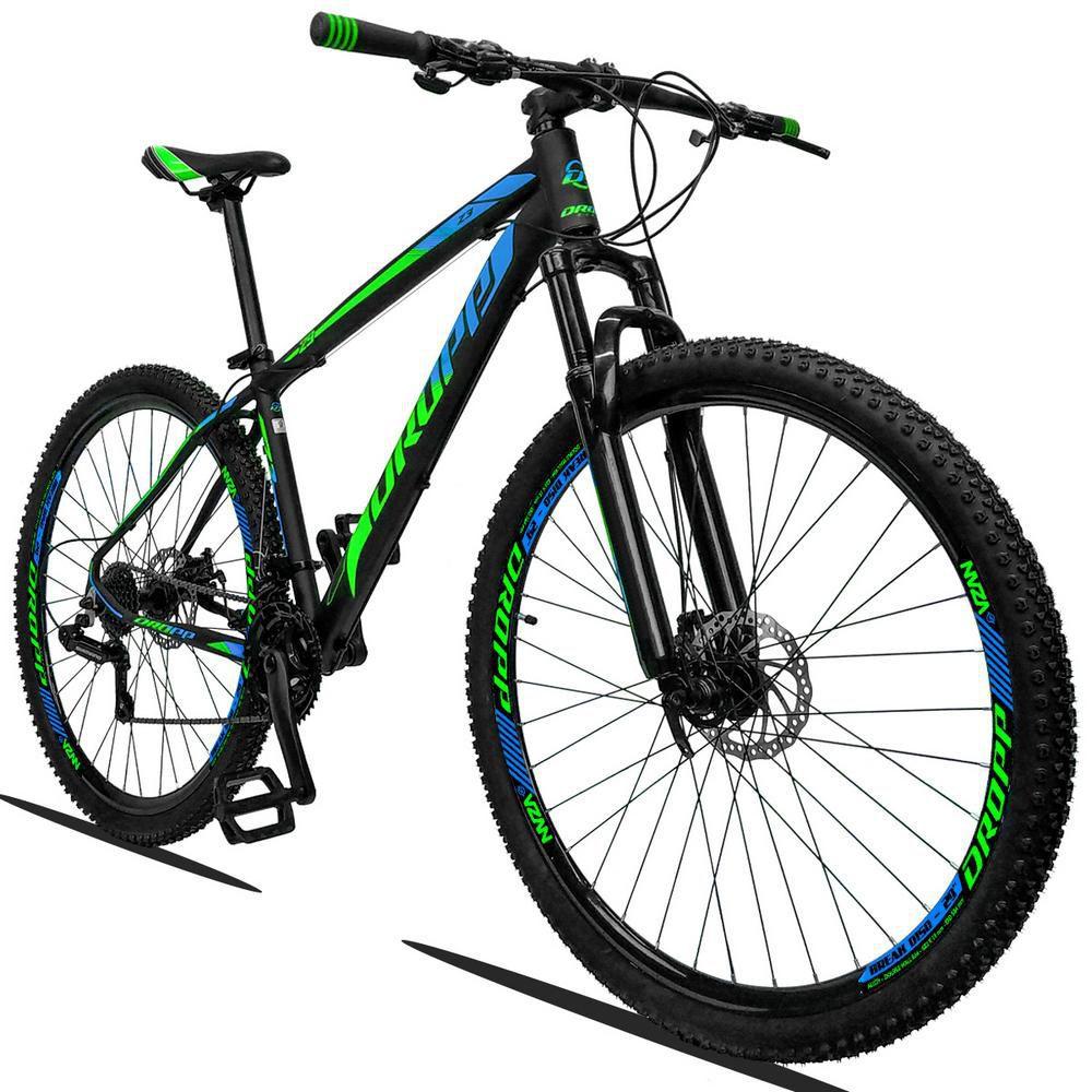 Bicicleta Aro 29 Quadro 15 Alumínio 21v Suspensão Freio a Disco Mecânico Z3 Preto Verde Azul - Dropp