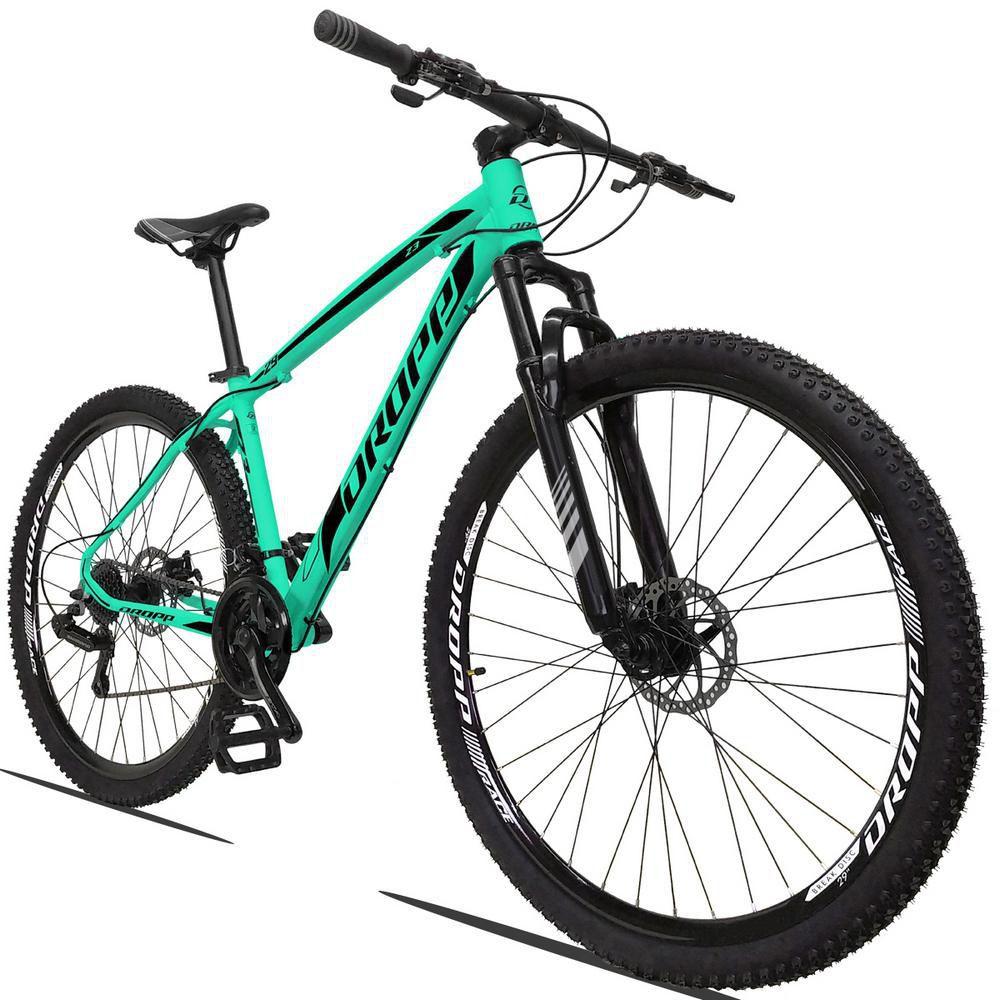Bicicleta Aro 29 Quadro 15 Alumínio 21v Suspensão Freio a Disco Mecânico Z3 Verde Anis Preto - Dropp