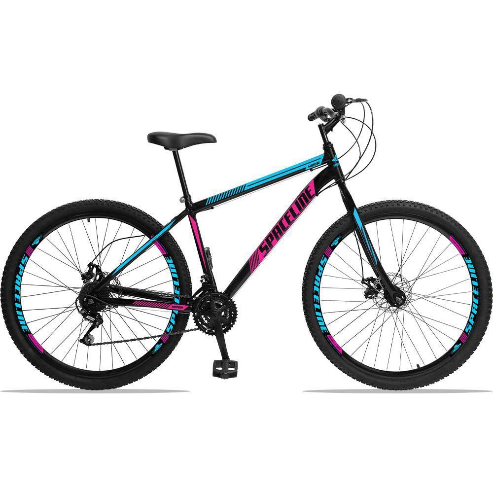 Bicicleta Aro 29 Quadro 17 Aço Garfo Rígido 21 Marchas Freio Mecânico Moon Preto/Rosa - Spaceline