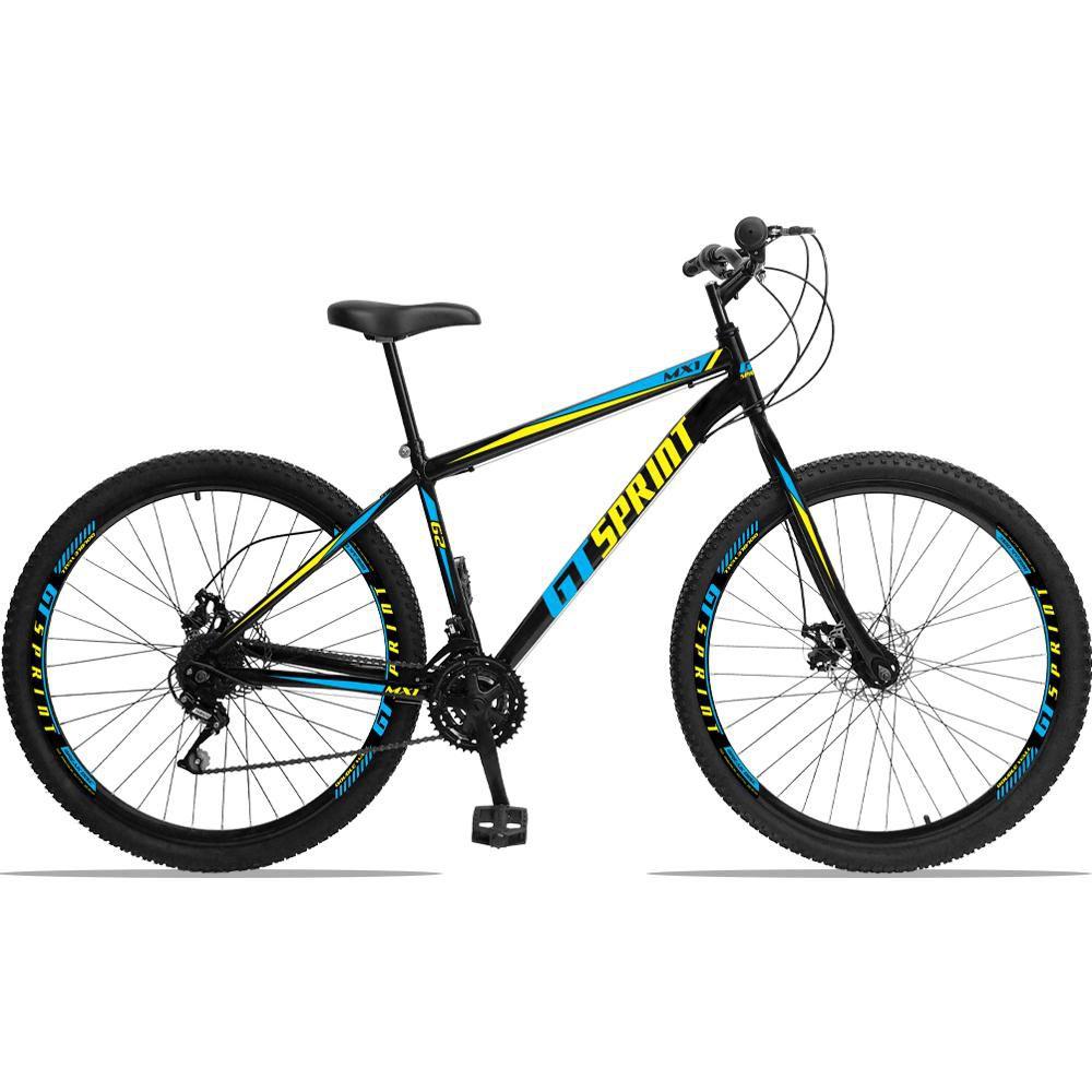 Bicicleta Aro 29 Quadro 17 Aço Garfo Rígido 21 Marchas Freio Mecânico MX1 Preto/Azul - GT Sprint