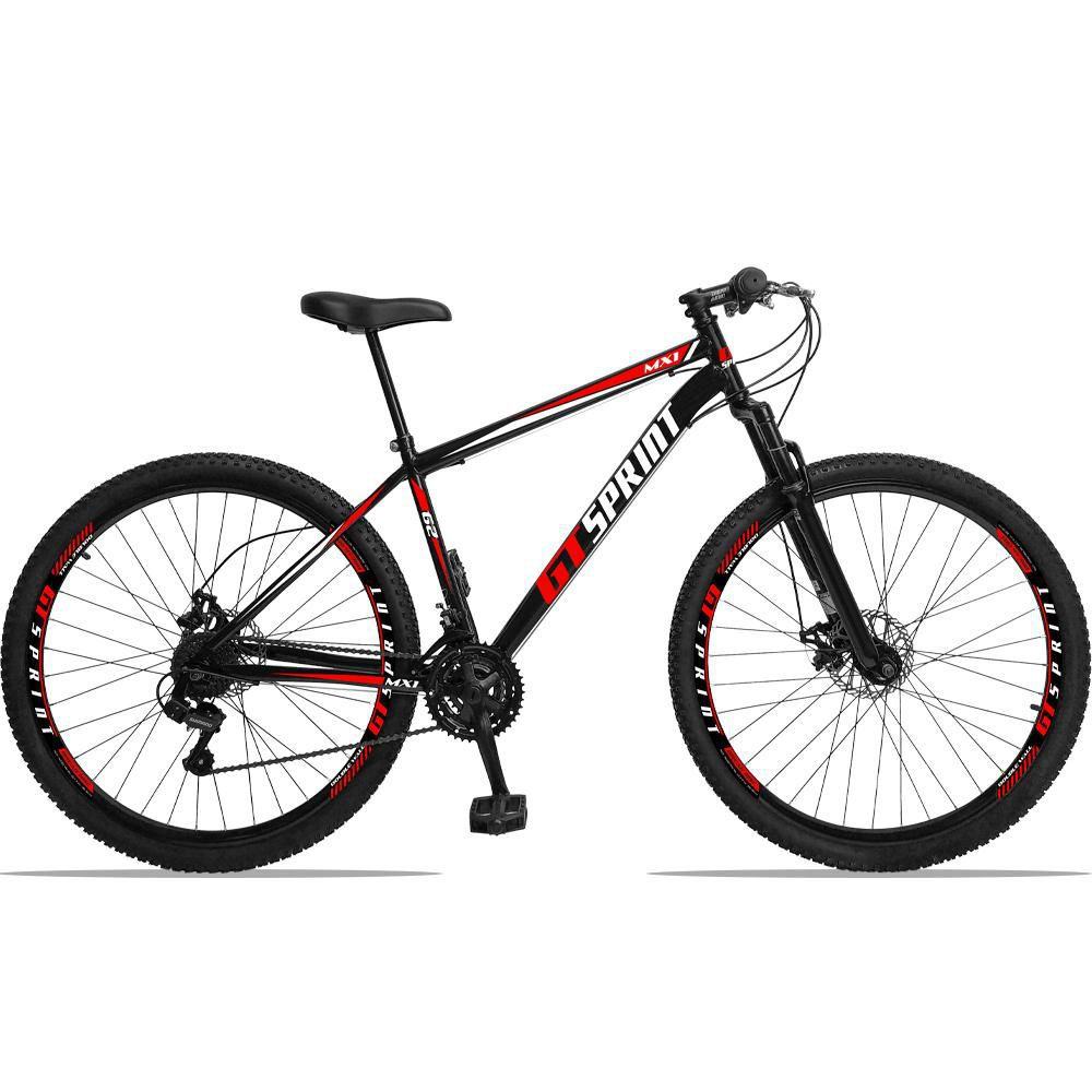 Bicicleta Aro 29 Quadro 17 Aço Suspensão 21 Marchas Freio Mecânico MX1 Preto/Vermelho - GT Sprint