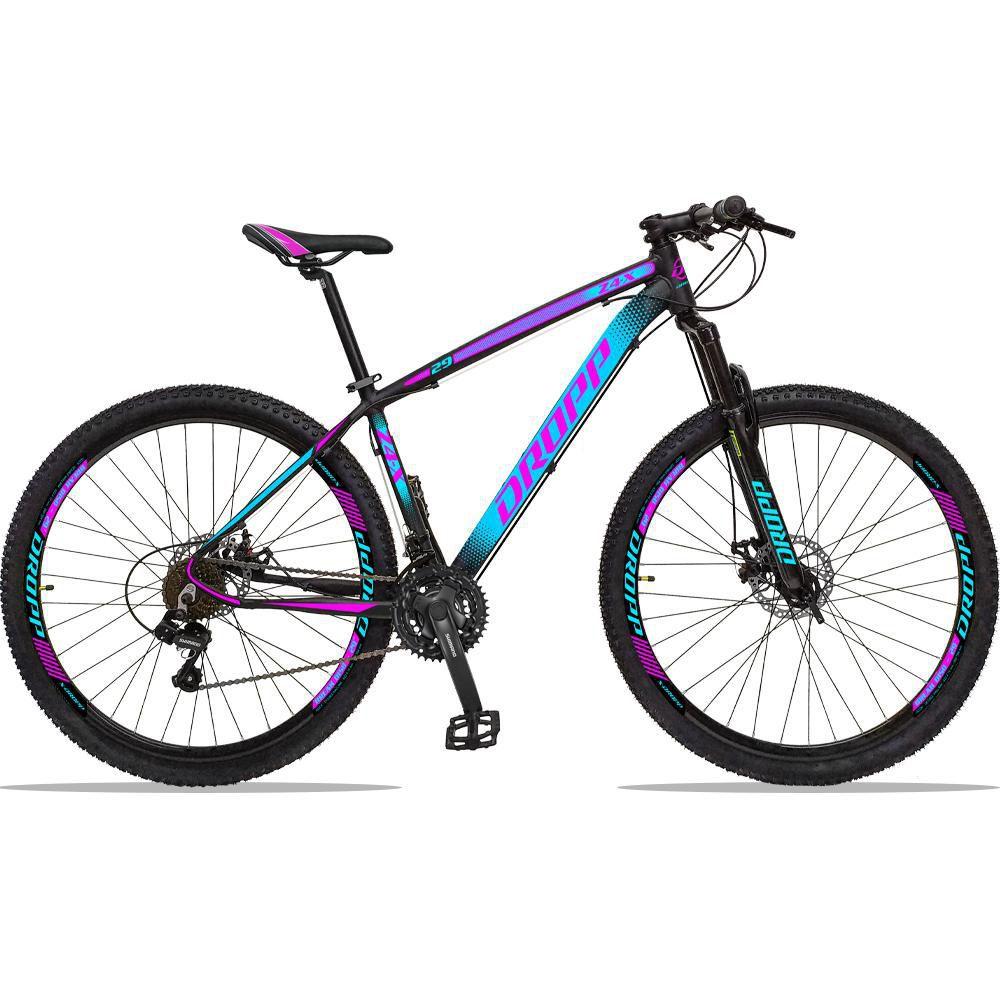 Bicicleta Aro 29 Quadro 17 Alumínio 21 Marchas Freio a Disco Z4X Preto Azul Rosa  - Dropp