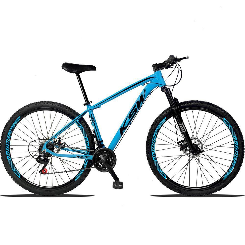 Bicicleta Aro 29 Quadro 17 Alumínio 21 Marchas Suspensão Freio a Disco XLT Azul Preto - KSW
