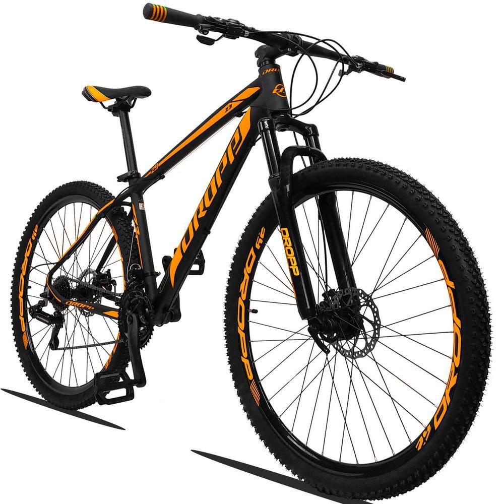 Bicicleta Aro 29 Quadro 17 Alumínio 21v Suspensão Freio a Disco Mecânico Z3 Preto Laranja - Dropp