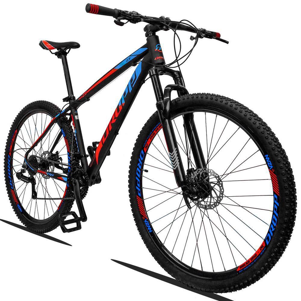 Bicicleta Aro 29 Quadro 17 Alumínio 21v Suspensão Freio a Disco Mecânico Z3 Preto Red Azul - Dropp