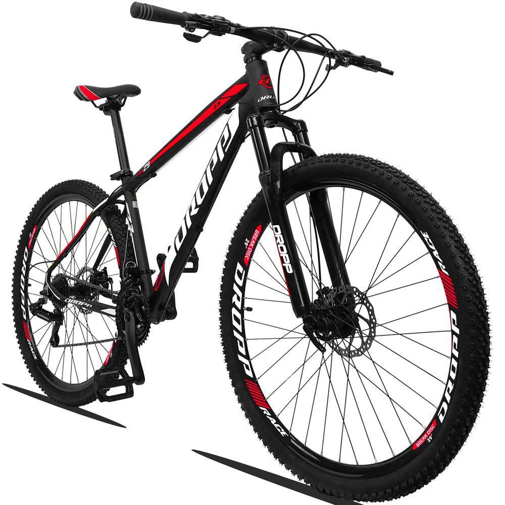 Bicicleta Aro 29 Quadro 17 Alumínio 21v Suspensão Freio a Disco Mecânico Z3 Preto Red Branco - Dropp