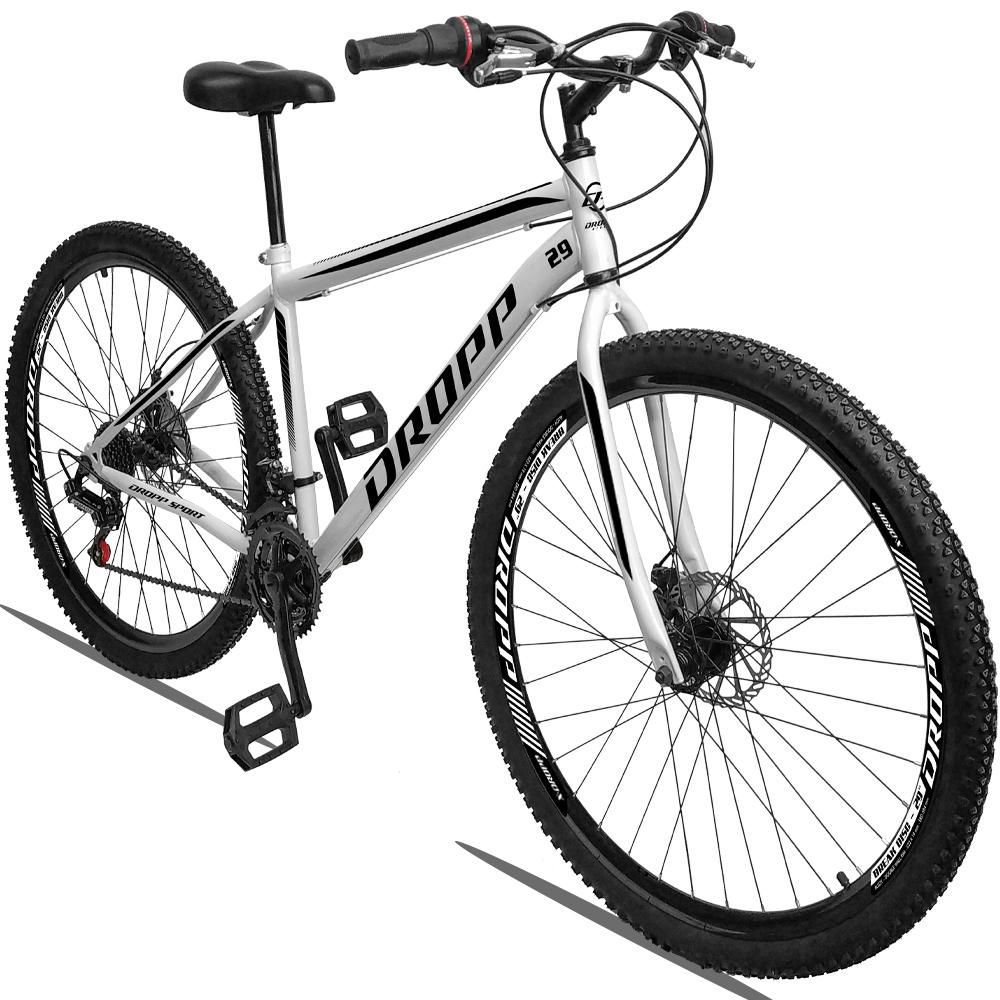 Bicicleta Aro 29 Quadro 17 Freio a Disco Mecânico 21 Marchas Aço Branco Preto - Dropp