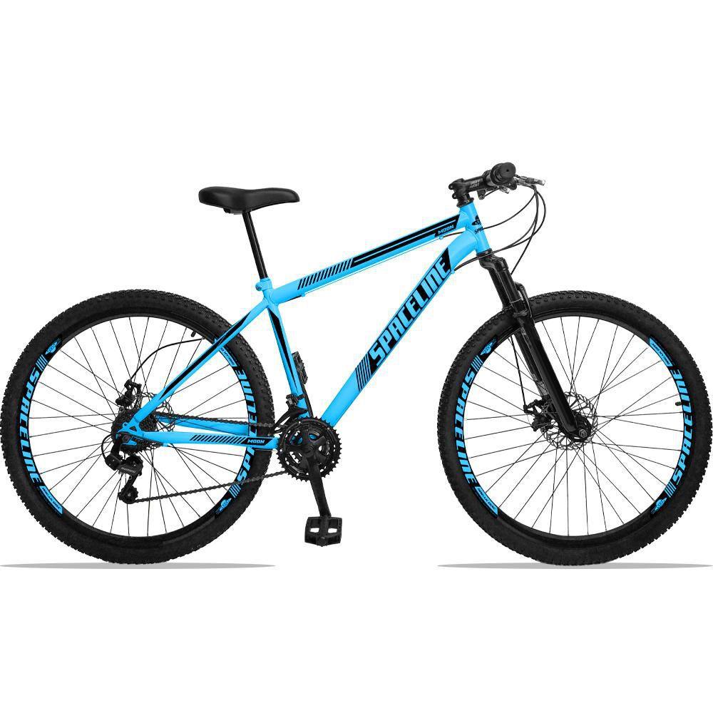Bicicleta Aro 29 Quadro 19 Aço Suspensão 21 Marchas Freio Disco Mecânico Moon Azul - Spaceline