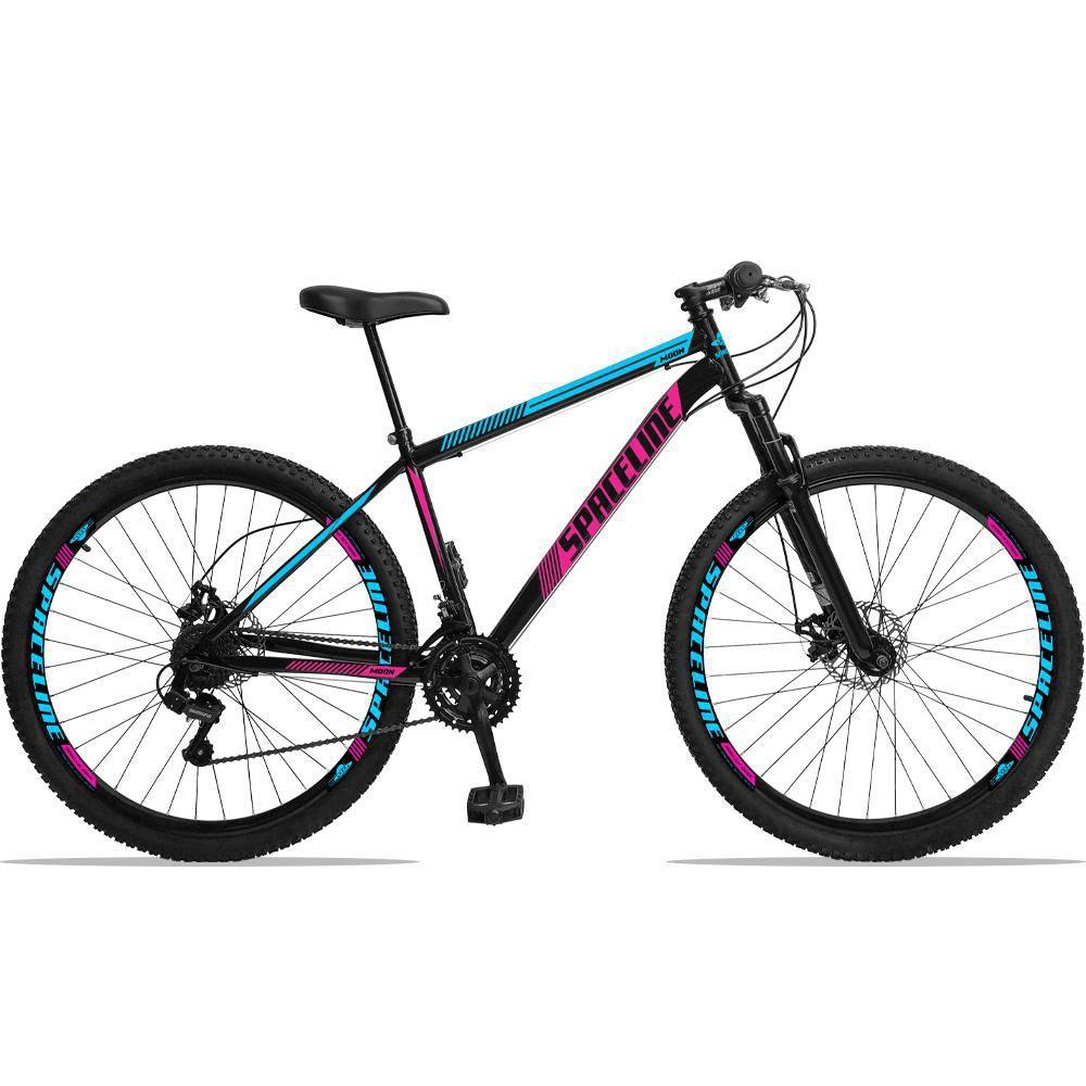 Bicicleta Aro 29 Quadro 19 Aço Suspensão 21 Marchas Freio Disco Mecânico Moon Preto/Rosa - Spaceline