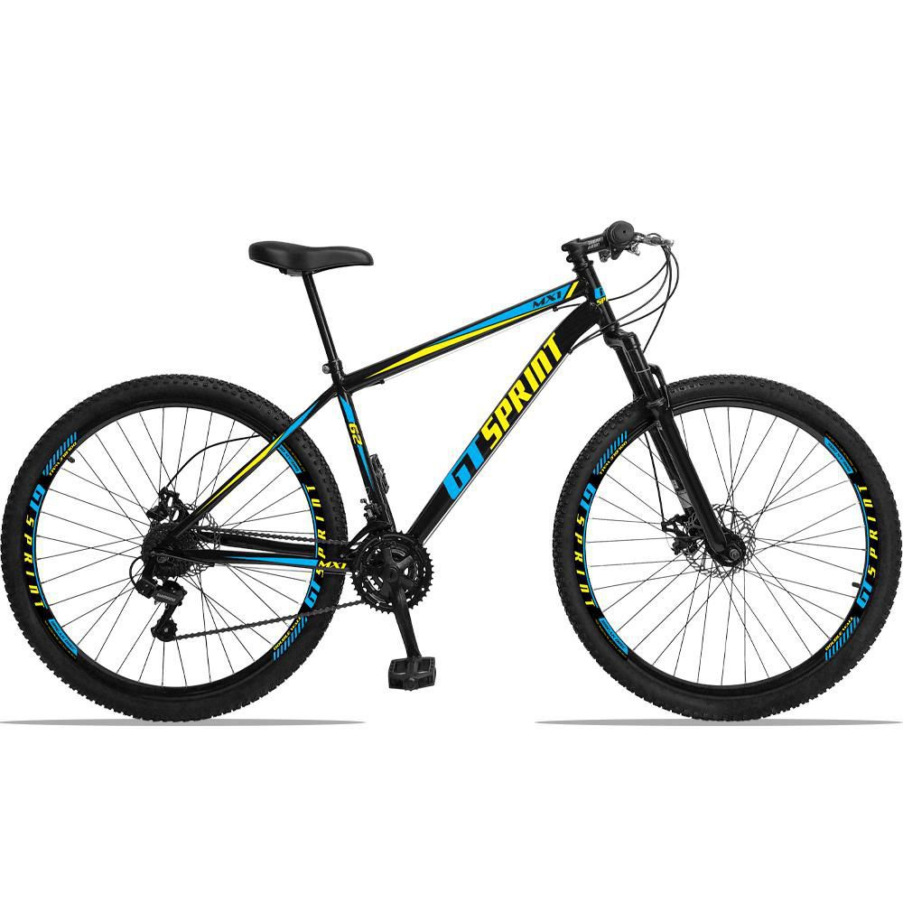 Bicicleta Aro 29 Quadro 19 Aço Suspensão 21 Marchas Freio Disco Mecânico MX1 Preto/Azul - GT Sprint
