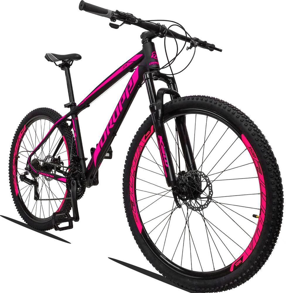 Bicicleta Aro 29 Quadro 19 Alumínio 21 Marchas Freio a Disco Hidráulico Z3 Preto Rosa - Dropp