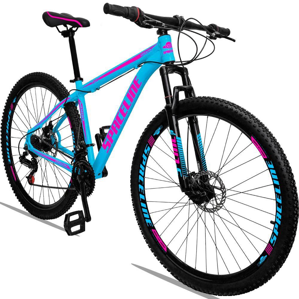 Bicicleta Aro 29 Quadro 19 Alumínio 21 Marchas Freio a Disco Orion Azul Rosa - Spaceline