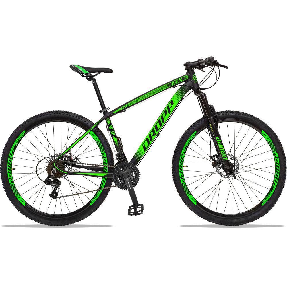 Bicicleta Aro 29 Quadro 19 Alumínio 21 Marchas Freio a Disco Z4X Preto Verde - Dropp