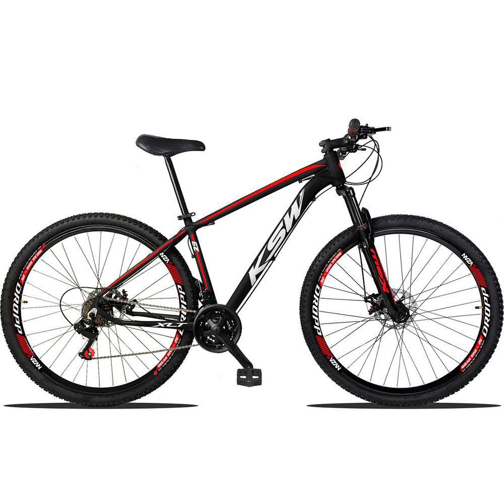 Bicicleta Aro 29 Quadro 19 Alumínio 21 Marchas Suspensão Freio a Disco XLT Preto Red Branco - KSW