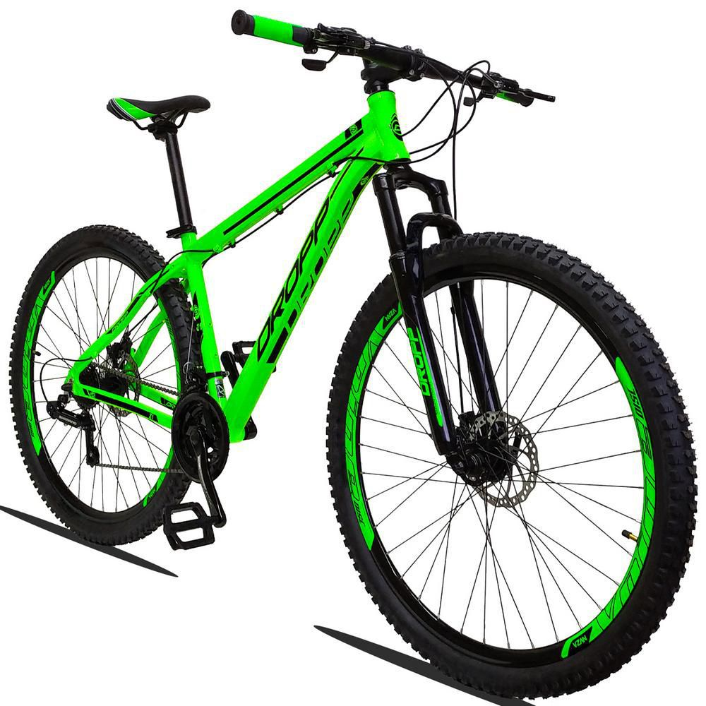 Bicicleta Aro 29 Quadro 19 Alumínio 21v Câmbio Shimano Freio a Disco Hidráulico Z1 Verde - Dropp