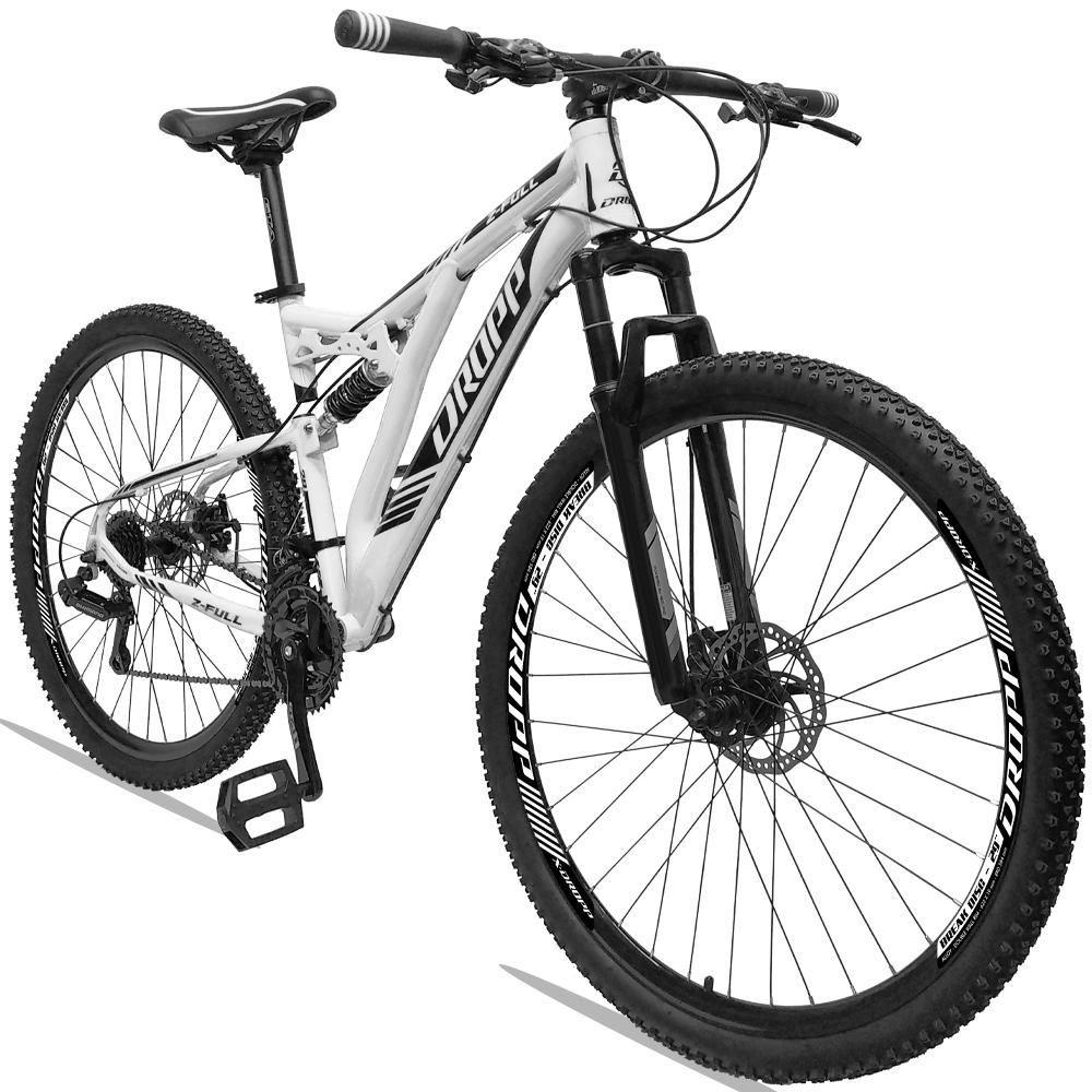 Bicicleta Aro 29 Quadro 19 Alumínio 21v Suspensão Freio a Disco Hidráulico Z-FULL Branco - Dropp