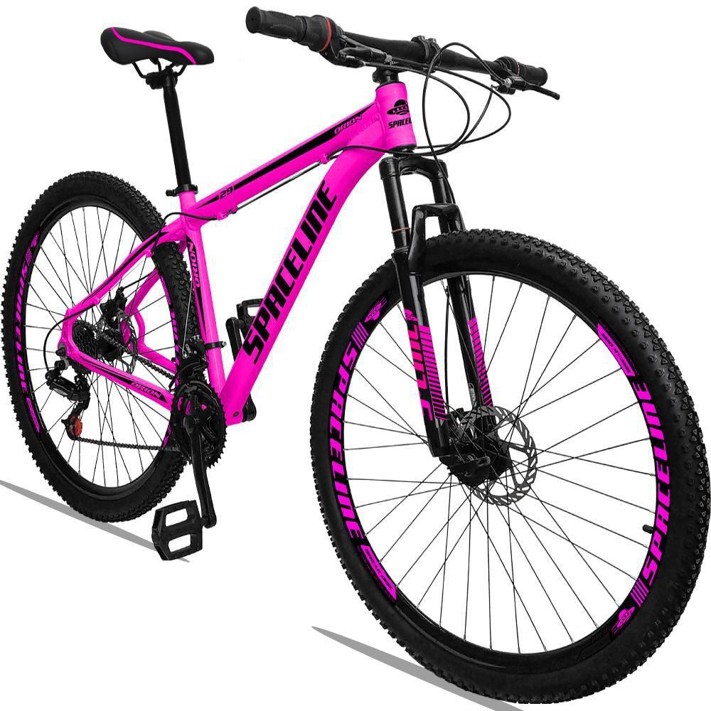 Bicicleta Aro 29 Quadro 21 Alumínio 21 Marchas Freio a Disco Orion Rosa Preto - Spaceline