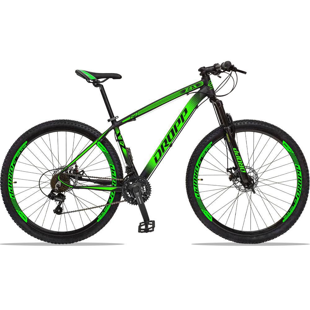 Bicicleta Aro 29 Quadro 21 Alumínio 21 Marchas Freio a Disco Z4X Preto Verde - Dropp