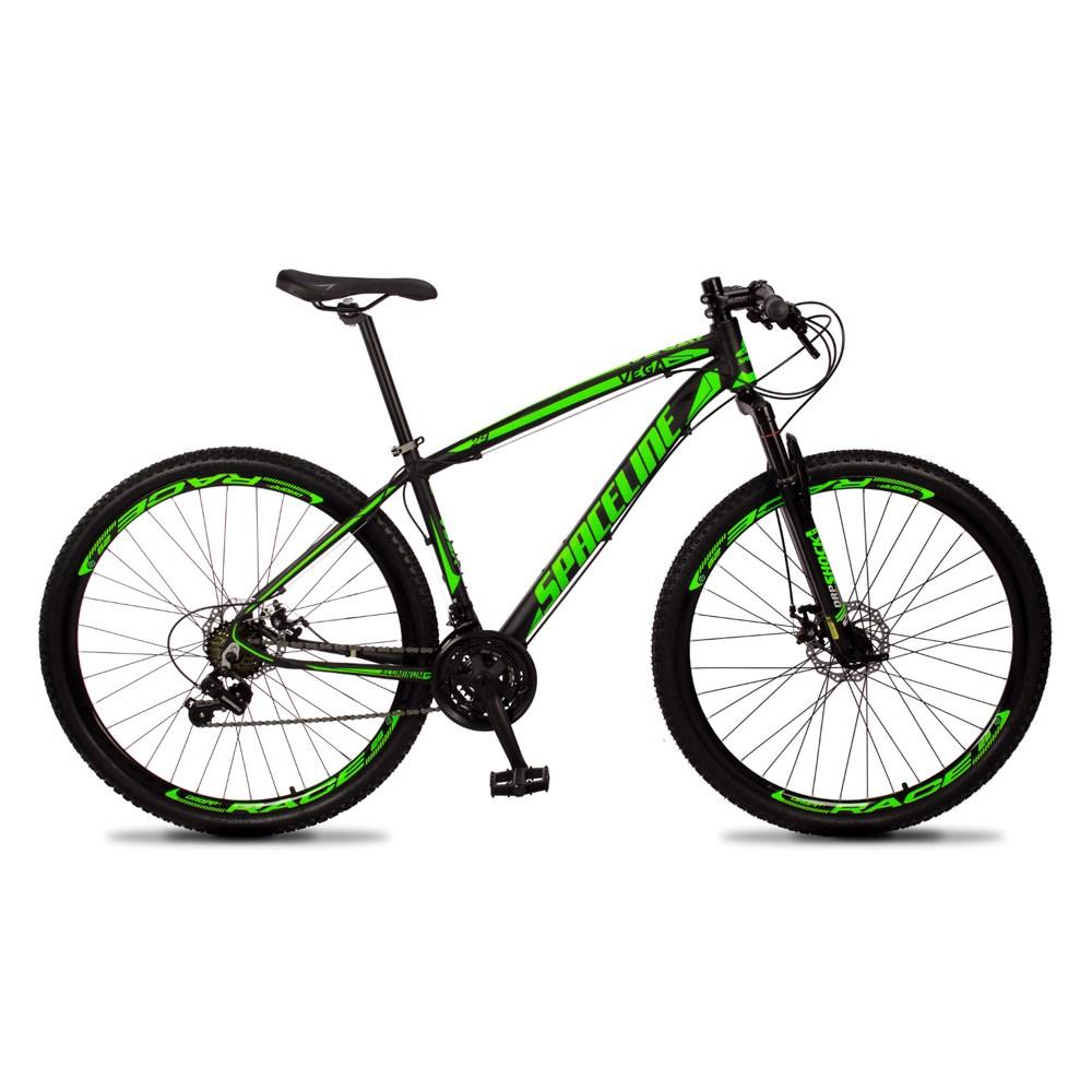Bicicleta Vega Quadro 21 Aro 29 Câmbio Tras. Shimano 21v Freio Mecânico Preto Verde - Spaceline